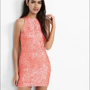 Express Dresses - Sequined coral/pink cocktail dress